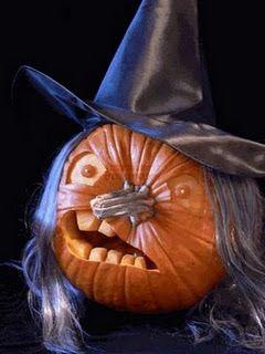 jack-o-lantern ideas - never thought of using that end of the pumpkin! Hang REAL Pumpkins Anywhere! Floating Pumpkin Hangers www.facebook.com/FloatingPumpkin