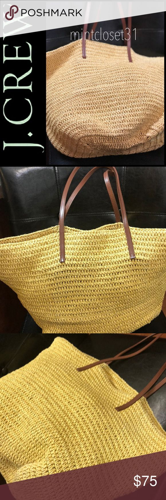 J. Crew Straw Shopper Tote Bag J. Crew Signature Purse in Gorgeous Straw Style with Leather Trim! Features Hand Crocheted In Resilient 100% Straw with 100% Leather Trim! Open Top Opens to Roomy Interior with Slip Pocket! Perfect for that Trip To the Beach or Simply Use as Market Shopper Tote!  Double shoulder strap (10 inches Drop) with Classic Brown Tonal Stitching Details! Used In Good Condition! J. Crew Bags Totes