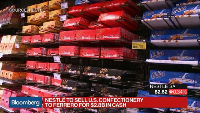 Nestle SA agreed to sell its U.S. confectionery unit to Ferrero SpA, the Italian maker of Nutella, in the first substantial step away from the candy industry by the company that invented milk chocolate.