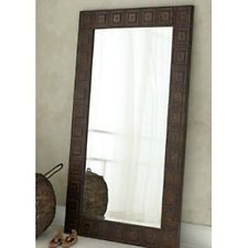 Photo Of For entry hall extra large floor wall mirror hammered bronze metal