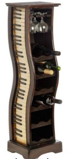 Minibar, suport pentru pahare si sticle de vin cu claviatura de piana pe ambele laterale