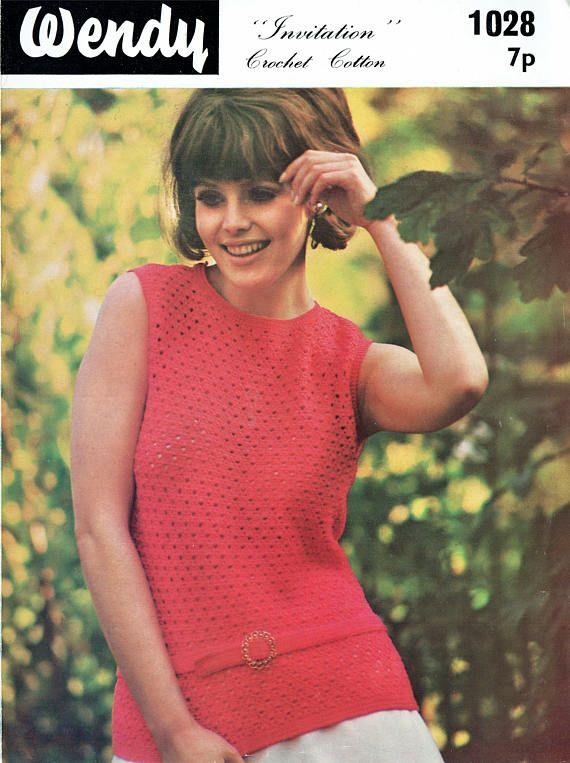 PDF Vintage Womens Ladies  Crochet Pattern Summer Vest Top