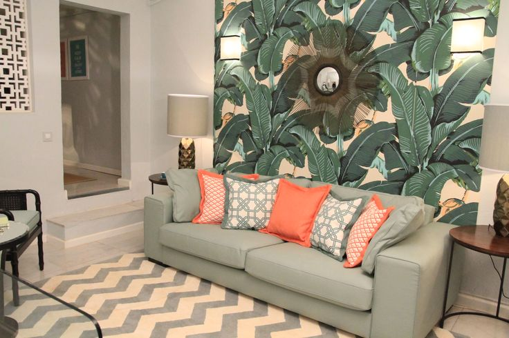 tropical inspired, small living room, martinique wallpaper,
