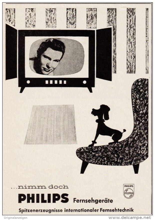 Original-Werbung/ Anzeige  1957 - PHILIPS FERNSEHEN / FERNSEHGERÄTE - ca. 110 x…