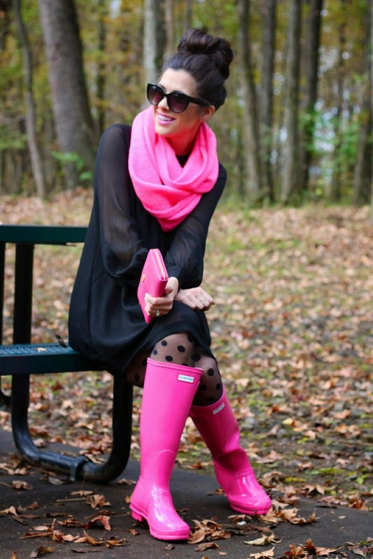 Pink Black Nail Design: Rainy Outfit Ideas. Pink Scarf/ Hunter Rain Boots And