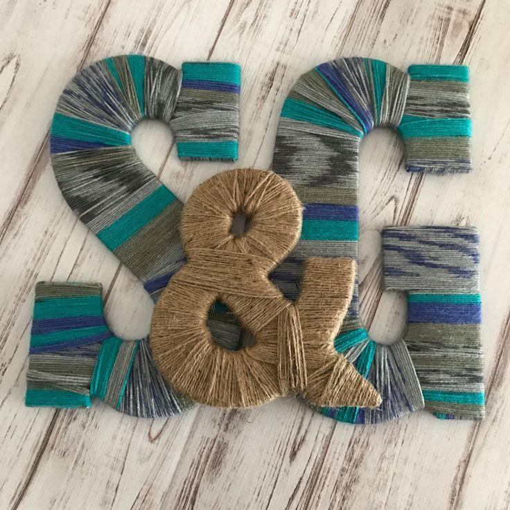 Monogram Letters, Custom Yarn Letters, Twine Ampersand, Wall Letter, Wedding Letters, Wedding Decor, Wall Art, Yarn Art, Decorative Letters by StargazerHomeDecor on Etsy
