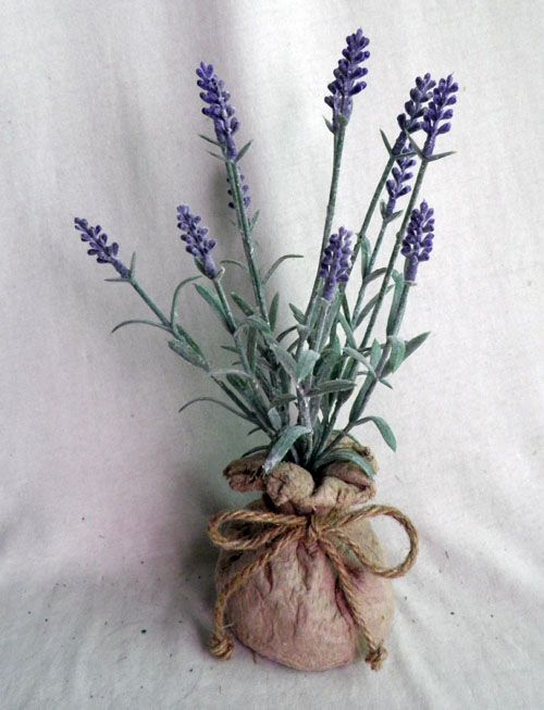 lavender in paper mache bag ,dark purple