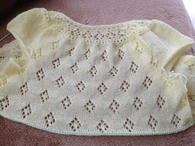 My granddaughter Aoife went shopping with her mother and came back with lots of lovely summer dresses. This is the first of the cardigans I am knitting to go with these dresses (needed during our t...