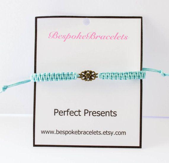 Charm bracelet Macrame Bracelet flower charm by BespokeBracelets