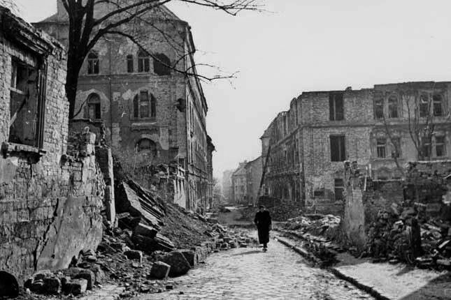 Budapest after the aerial bombardment in the second world war and today Logodi street
