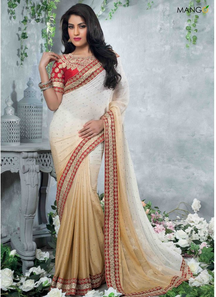 FAB OFF WHITE AND PEACH SHADED SAREE  CODE:-7199 PRICE:-2902/-
