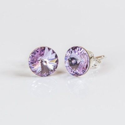 Swarovski Rivoli Earrings 8mm Light Amethyst  Dimensions: length:1,5cm stone size: 8mm Weight ~ 1,15g ( 1 pair ) Metal : sterling silver ( AG-925) Stones: Swarovski Elements 1122 SS39 ( 1122 8mm ) Colour: Light Amethyst 1 package = 1 pair Price 9.90 PLN( about`2,5 EUR)
