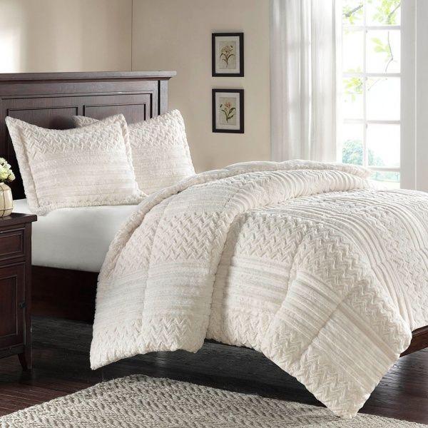 Twin White Fluffy Faux Fur Bedding