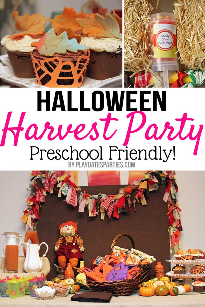 Get the best tips for hosting little kids at your house for a fun Halloween get together. This Halloween harvest party for preschoolers is full of simple ideas and decorations that are fun for little kids and easy to replicate! http://playdatesparties.com/real-parties-halloween-harvest-bas/