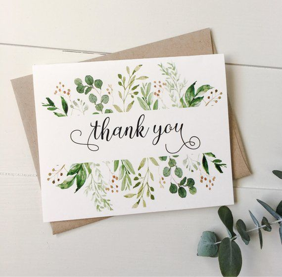 Thank you cards. Rustic Thank you cards. Weddings. Modern, greenery Thank you notes, notecards. Wedding Stationary. Weddings