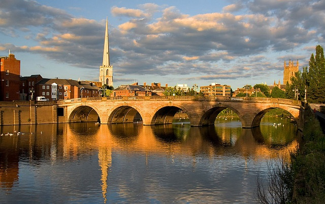 Worcester Bridge, Worcester, Worcestershire, Great Britain I would love to be taking a walk with a friend on this bridge right now!