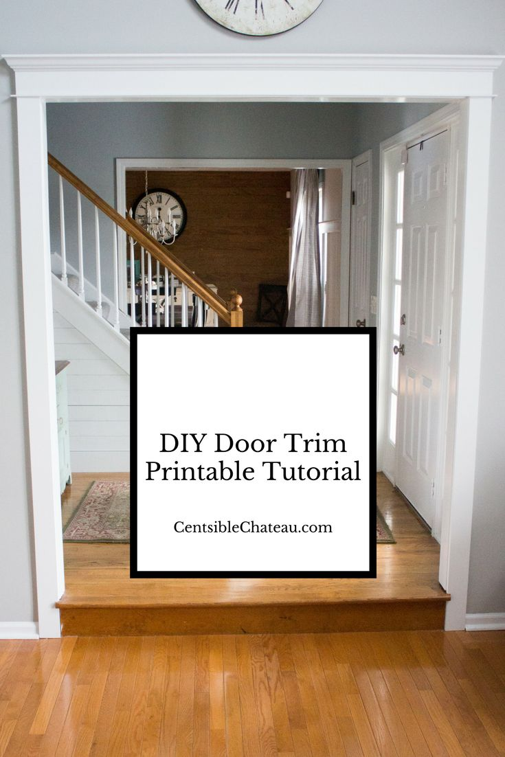 This DIY Door Trim Printable Tutorial will help you upgrade builder grade trim and customize your home. Door Trim Ideas|Farmhouse Door Trim|Farmhouse Style