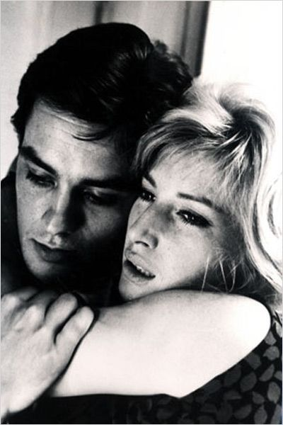 "Alain Delon and Monica Vitti in Michelangelo Antonioni's 1962 film ""L'eclisse"" - great film, and Delon is the most handsome man ever."