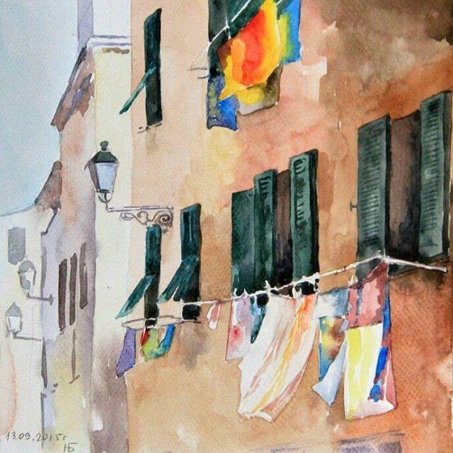 Italian street #Italy#street#city#watercolor#window#orange#red#green#house#amazing#light#impressionism#акварель#Италия#улица#дом#ставни#окно#фонарь#импрессионизм