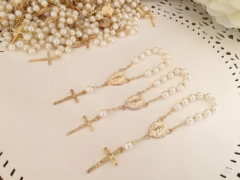 30 baptism favors acrylic pearls /mini rosaries/ by FAITHPIECES