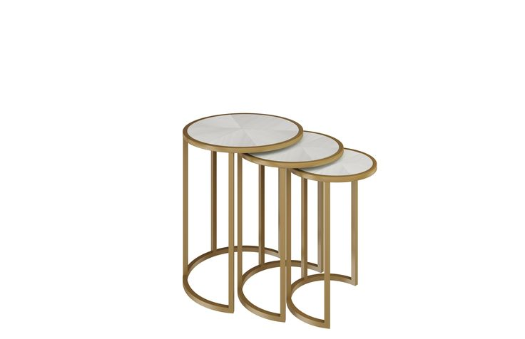 Greta Nesting tables with Brushed Champagne Stainless steel base and Chalk White on Ash tops.