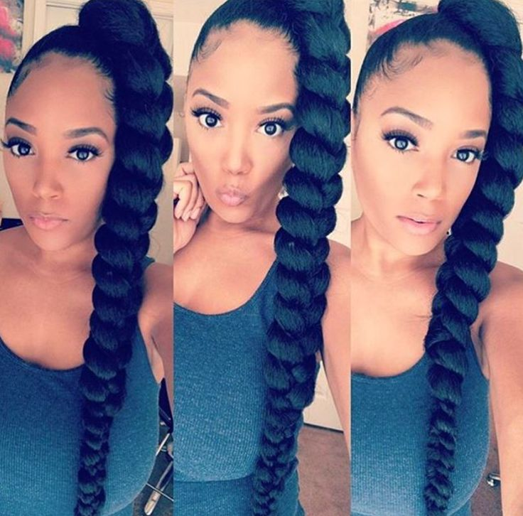 Love this braided pony by @chitownstylist_1 - https://blackhairinformation.com/hairstyle-gallery/love-braided-pony-chitownstylist_1/