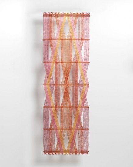 peter collingwood - red macrogauze wall hanging I #textiles #weaving