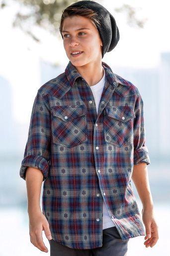 modern boys style, flannel & slouch beanie, teen fashion
