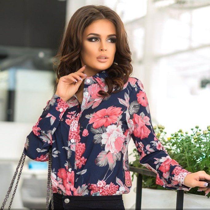 """Купить Рубашка с цветочным принтом ST11472 по лучшей цене с доставкой по всей России вы можете в интернет-магазине """"Красавица"""". Фото, описание и цена."""