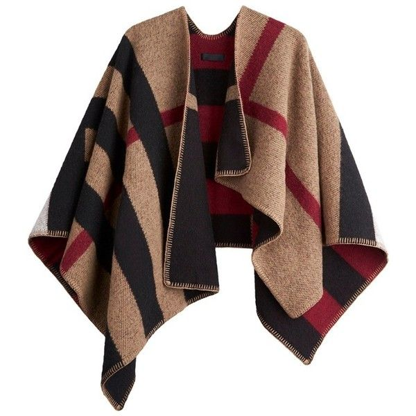 Burberry Check Wool and Cashmere Blanket Poncho ($1,495) ❤ liked on Polyvore featuring outerwear, ponchos, burberry, coats, jackets, burberry poncho, wool poncho and cashmere poncho