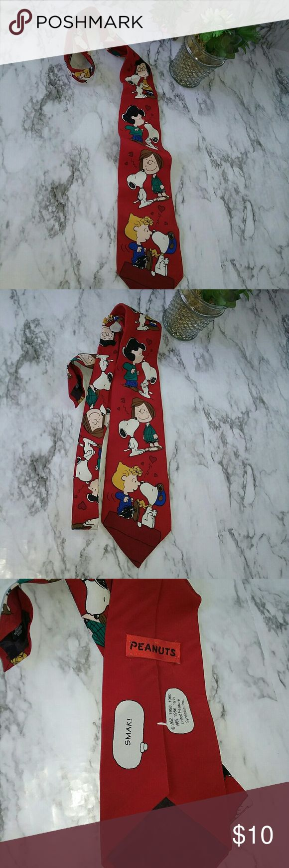 Mens Necktie Peanuts Snoopy Vintage This is a peanuts brand Snoopy type. It has a picture of Snoopy kissing kissing all the girls. It is in good preowned condition. It is 100% Silk Peanuts Accessories Ties