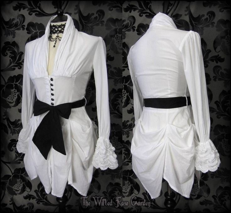 Victorian Goth White Hitched High Collar Bustle Shirt Top 8 Steampunk Romantic | THE WILTED ROSE GARDEN