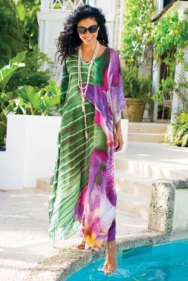 Positano Caftan - Resort Cover Up, Georgette Caftan Coverup | Soft Surroundings/ An Absolute Must have dot ....dash---- ditto....--:-) - truly must, M.U.S.T....