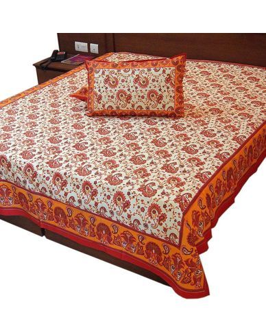 rajasthani gold print cotton double bed sheet buy double bedsheet online