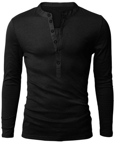Slimming Trendy V-Neck Button Design Fabric Splicing Long Sleeve Polyester Polo Shirt For Men