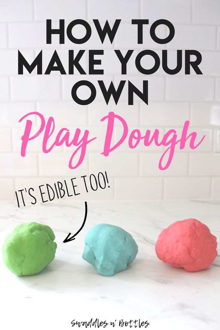 Homemade Play Dough! It's edible and toxic too! It's all ingredients you would have in your kitchen- flour, water, oil, salt and koolaid! Such a fun toddler and kid activity and craft for summer time or even those cold winter months when stuck indoors!