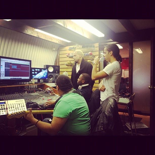 Aggro Santos  Late night studio still working!!!! #studio