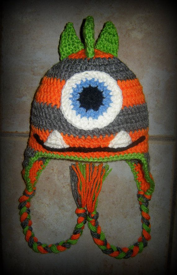 Boy Stripped Monster Hat One Eyed cyclopes by LoopsyDaisyDesign, $21.00