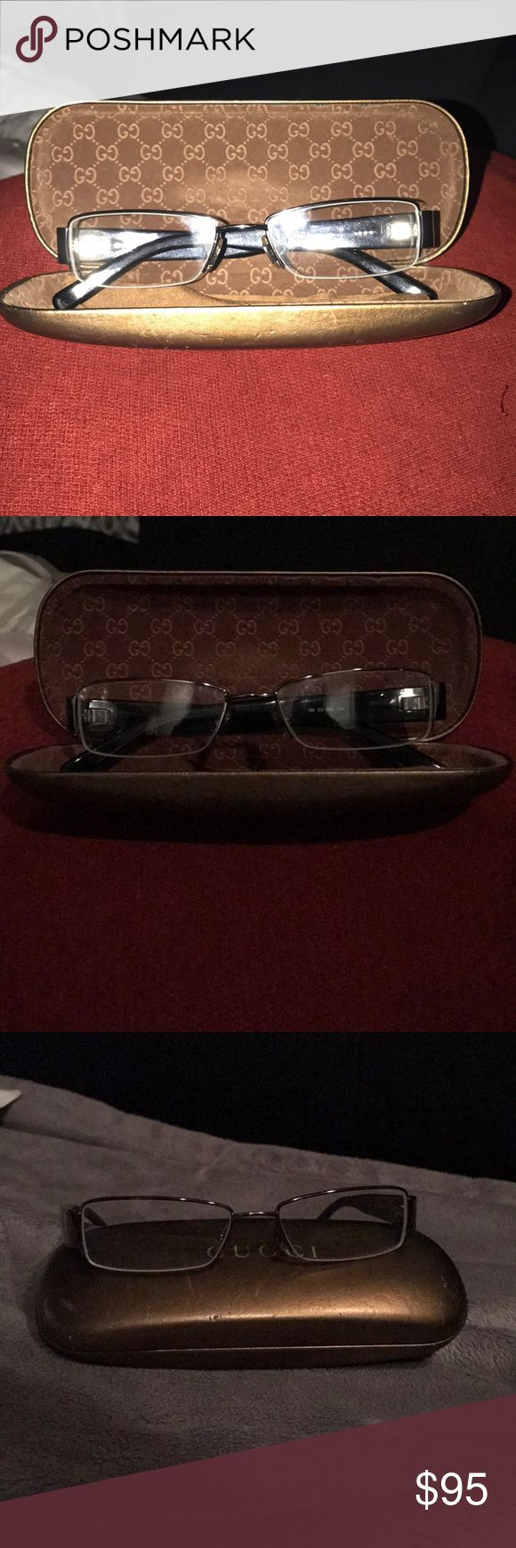 Gucci glasses frames Gucci glasses frames. They already have prescription lenses in them, but could easily be replaced with your (the buyer's) prescription. Really cute and in great condition. Gucci Accessories Glasses
