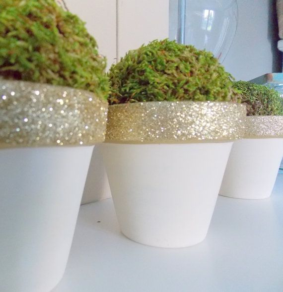 Gold glittery moss topiary pots set of three  by PeanutTreeDesigns