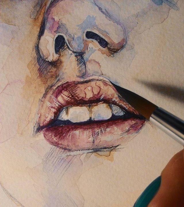 #Процесс пошёл #акварель #рисунок #живопись  #губы #process #painting #lips #watercolor