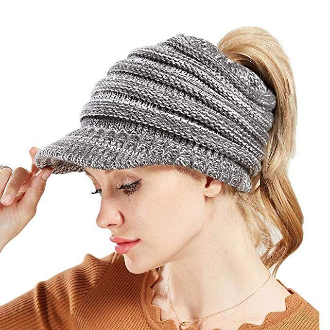 VEMOLLA Women Beanie Tail Winter Warm Knit Messy High Bun Ponytail Beanie Hat with Visor