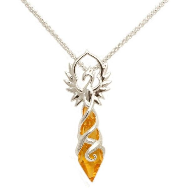 Phoenix Flame with Yellow Crystal Pendant Necklace (84 BGN) ❤ liked on Polyvore…