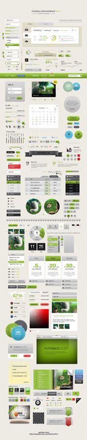 Futurico UI – User Interface Elements Pack #userinterface #ui #design #inspiration #creative #free #freebie #psd #photoshop #vector #shape