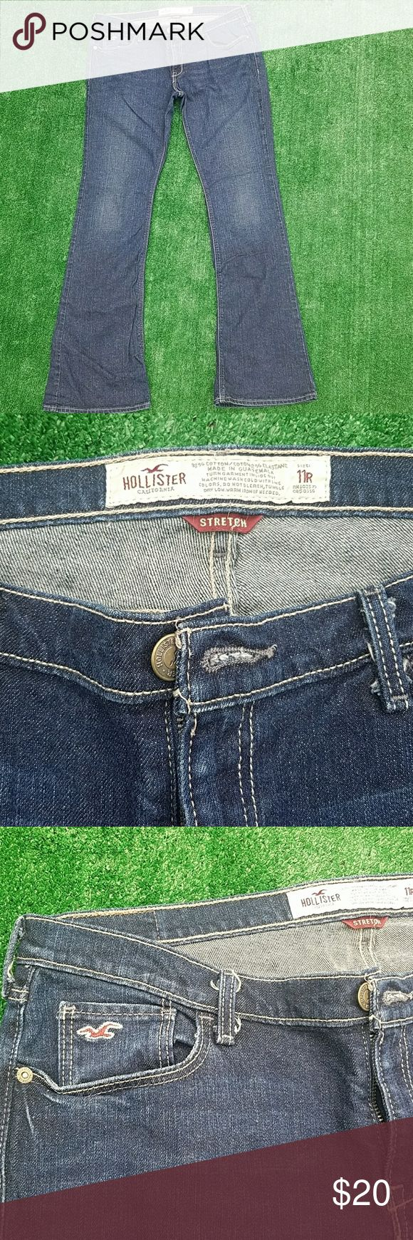 Hollister flare jeans Dark wash, stretch fit, very good condition, some lightening on the back of the heel area Hollister Jeans Flare & Wide Leg