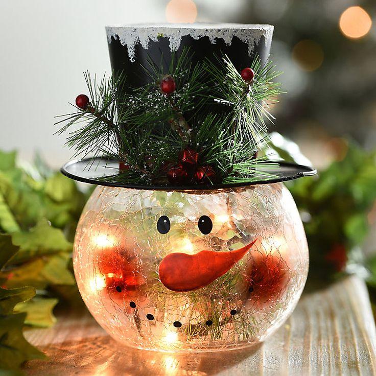Clear Crackle Glass Led Snowman Kirklands Diy