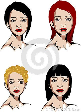 Elaborated Colored vector illustration of a blue-eyed woman in a variety of hair styles.