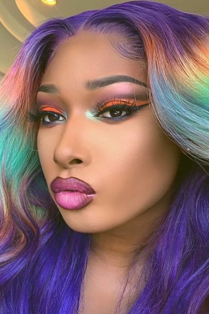 Megan Thee Stallion And Her Rainbow Wig Would Like To Wish You A Happy Pride Month In 2020 Rainbow Wig Natural Hair Styles Stallion
