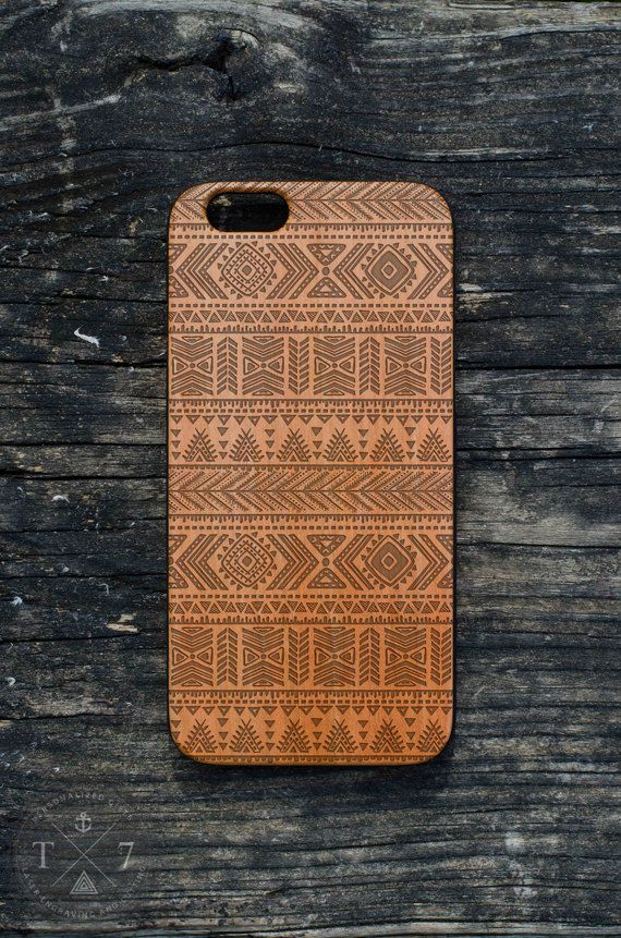 Aztec Pattern Hipster iPhone 6 iPhone 5 5s wooden case by StudioT7