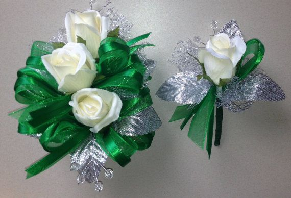 Emerald Green Silk Corsage N Boutonniere By